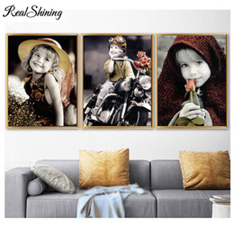 paintings little girls Australia - Cute Little Girl diamond painting full square round diamond mosaic,5d diy,diamond embroidery Childhood Memory 3pcs set FS6975