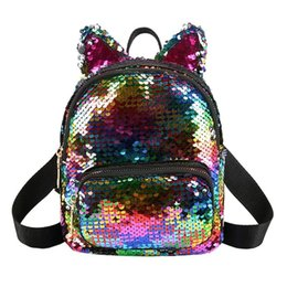 cute mini backpacks wholesale Canada - Designer-New Women Cute Sequins Backpacks Teenage Girls Travel Party Mini School Bags Lovely Cat Ears School Blingbling Glitter Backpack