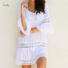 White lace tunic dress online shopping - Vintage Cotton Beach Dress Women Summer Lace Mini Tunic Dresses Dress Plus Size Bohemian Dresses N382 Designer Clothes