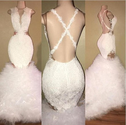 Images White Evening Dresses Australia - African White Mermaid Prom Dresses 2018 Deep V Neck Lace Appliqued Ruffled Puffy Prom Gowns Crisscross Back Party Dresses Evening WearBA8448