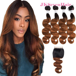 $enCountryForm.capitalKeyWord Australia - 1B 30 Body Wave Brazilian Virgin Hair Extensions 4pcs With 4x4 Inch Lace Closure Dark Root 30 Peruvian Malaysian Indian Remy Hair Weaves