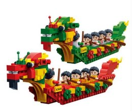 toys boats NZ - Small particle puzzle assembly Kaizhi building block children's toys Dragon Boat toy model of traditional Chinese Festival Dragon Boat Festi