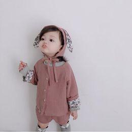 $enCountryForm.capitalKeyWord Australia - Lovely cozy newborn baby girls clothing cotton linen cardigans+shorts+ hat sets for girls costumes children outfits