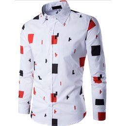 block fashion men NZ - 2019 New Arrival Man Shirt Color Block Pattern Design Long Sleeve Casual Slim Fit Man Shirt Fashion White Dress Shirts Camisa 20