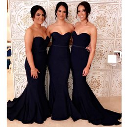 $enCountryForm.capitalKeyWord Australia - Stunning Dark Navy Mermaid Bridesmaid Dresses Sweetheart Ribbon Sash Long Maid Of Honor Gowns Sweep Train Satin Formal Wears