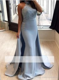 Wholesale Baby Blue Mermaid Evening Dresses With Detachable Train Applique Lace Halter Neck Sequined Beads Sweep Train Evening Party Gowns Wear