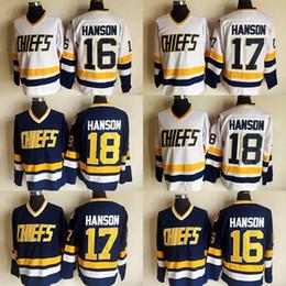 Discount shooting jersey - Slap Shot Movie Charlestown Chiefs 18 Jeff Hanson 17 Steve Hanson 16 Jack Hanson Hockey Jersey White Blue Stitched Jerse