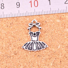 Wholesale plated skirts resale online - 127pcs Charms ballet tutu dress ballerina skirt Antique Silver Plated Pendants Making DIY Handmade Tibetan Silver Jewelry mm