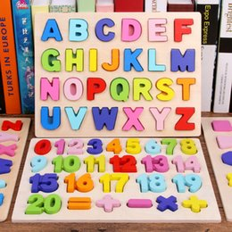 wooden alphabet puzzle Australia - ABC Puzzle Digital Wooden Toys Early Learning Jigsaw Letter Alphabet Number Puzzle Preschool Educational Baby Toys for Children CX200605