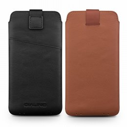 $enCountryForm.capitalKeyWord Australia - 2018 Genuine Leather Pull Tab Sleeve Pouch Bag Cover Natural Cowhide Phone Case For iphone X XS Max XR Original Qialino Brand