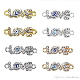 Evil Eye Connector Wholesale NZ - 50 pieces   lucky eye LOVE heart pendant type evil eyes Diy jewelry accessories charm necklace bracelet connector wholesale