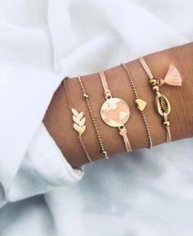 $enCountryForm.capitalKeyWord Australia - 2019 hot new European and American pink orange drop oil earth love bracelet shell tassel Bead Chain Bracelet New five-piece set of handwear
