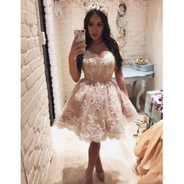 Royal blue lace backless dRess online shopping - 2019 New Cheap Short Mini Ball Gown Homecoming Dresses Off Shoulder White Lace Appliques Open Back Puffly Cocktail Dress Party Prom Gowns