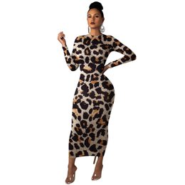 sexy long sleeve fitted dresses Australia - 2019dress Europe and America Ms fashion Leopard printing Long sleeve dress Sexy Slim fit Round neck Long skirt new style