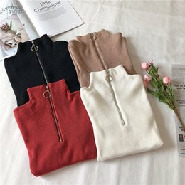 Wholesale korean turtleneck zipper for sale - Group buy Turtleneck Women Sweater And Pullovers Fall Korean Sweater Autumn Zipper Knitted Fashion Women High Elastic Solid Tops