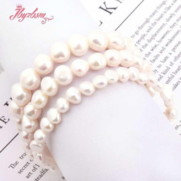 "fashion bracelet freshwater pearls UK - Natural Freeform Freshwater Pearl White Beads For Women Chritmats Fashion Jewerly Gift Bracelet 5-7 8-9 9-10mm 7"" Drop Shipping"