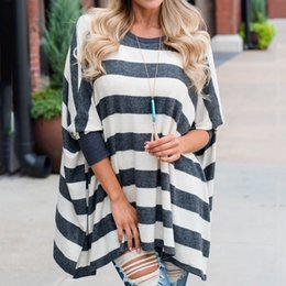 $enCountryForm.capitalKeyWord Australia - womens tops and blouses befree vintage Fashion Plus Size Women's Long Sleeve Striped Print Blouse Dolman Sleeve Top