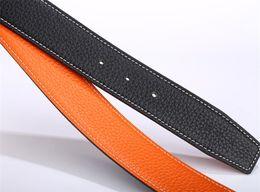 Copper Coatings Australia - Luxury Brand 3.8cm belt for H men high quality coat-leather belt for women pure copper belt buckle double-sided business senior gifts