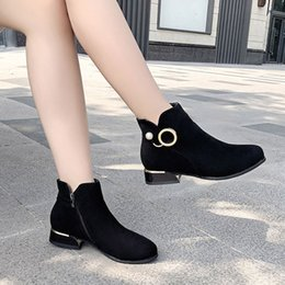 pearl shoes boots UK - Women Ankle Boots Pearl Zip Casual Flock Classic Thick Med Heel Boots Fashion Plush Warm Fur Winter Shoes Ladies Footwear