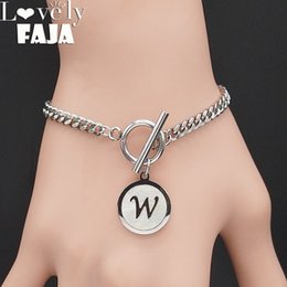 $enCountryForm.capitalKeyWord Australia - Punk Letter W Shell Stainless Steel Bracelets Women Silver Color Bracelets Bangles Jewelry pulsera acero inoxidable mujer B18413