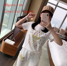 $enCountryForm.capitalKeyWord NZ - Summer Women two piece outfits female Tracksuit white Letter hot drilling short sleeve t-shirt+casual elastic pants women clothes LE-6
