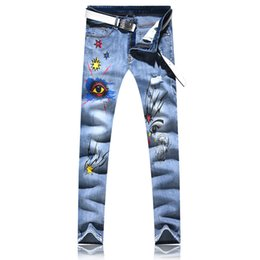 plus size clothing for sale Canada - Size 28-38 Hot Sale Blue Denim Jeans New Designer Ripped Jeans for Men High Quality Elastic 3D Printed Clothes Plus Size