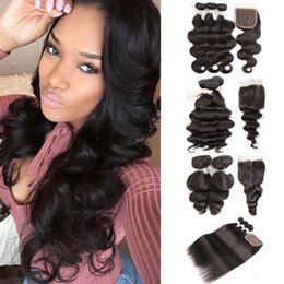 $enCountryForm.capitalKeyWord NZ - Kiss Hair Straight Body Wave Hair Weaves 3 Bundles with Lace Closure Natural Color Loose Deep Wave Virgin Remy Human Hair Extension