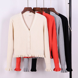 08f108baedf9 GIGOGOU Sexy V Neck Women Cardigan Sweater Ribbed Knitted Tops Ruffled Cute  Girls Coat Spring Autumn Jacket Knitted Sweaters  409250