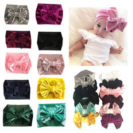 Hair band bow style online shopping - 11 styles Children big bow Golden velvet Hair band baby holiday hair ring accessories kids bowknot Princess headwear Hair accessories FFJ748