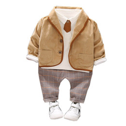 coat shirt pants Australia - New autumn baby boy clothes boys suits boys designer clothes baby outfits 3pcs coat+long sleeve t shirt+ trousers pants boys clothes A6930