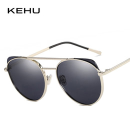 colored sunglasses NZ - wholesale New Cat Eye Sunglasses Women Eyewear UV400 Lens Brand Design Fashion Colored Lens Flat Top Metal Frame Sun Glasses K10020