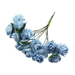 blue rose wholesale NZ - 144 X Artificial Paper Rose Flower Wedding Craft Decor Light blue