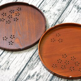 flock fiber NZ - Japan Style Round Wooden Serving Trays Cherry Blossom Hollow Plate Dish Wooden Round Tea Tray Pallets for Home Hotel Bar