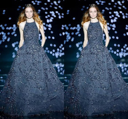 EliE saab sEquin EvEning drEssEs online shopping - Elie Saab Dark Navy Evening Dresses Halter Neck Tulle A Line Prom Gowns Full Length Sexy Formal Party Celebrity Dress Customized