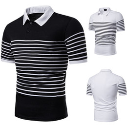 polyester mens polo shirts Australia - Stripe Polo Shirt Men Solid Short Sleeve Men Polo Lapel Neck Summer Casual Camisas Polo T Shirt Mens J190733