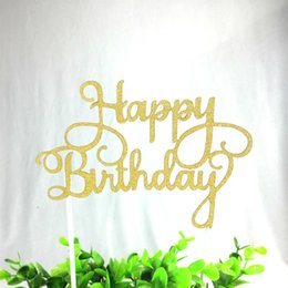 $enCountryForm.capitalKeyWord Australia - 1pc Gold Silver Blue Cupcake Cake Topper Happy Birthday Cake Top Flags for Love Family Birthday Party Baking Decoration Supplies
