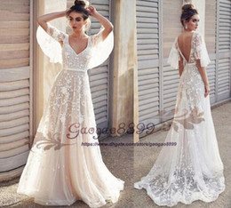 $enCountryForm.capitalKeyWord Australia - Bohemian Wedding Dresses V neck with 3D Floral Lace Appliques A Line Beach Wedding Dress poet sleeve Sweep Train Cheap Boho Bridal Gowns