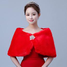 prom wraps jacket shawl 2019 - New Arrival Bridal Wraps Faux Fur Shawl Jacket For Wedding Prom Red Winter Warm Rhinestone Bridesmaid Bolero Hot Sale 20
