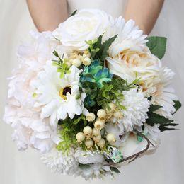 $enCountryForm.capitalKeyWord Australia - 23CM Artificial Flower Wedding Bouquet Simulation Cloth Flowers Green Leaves Bridal Bouquet Ribbon Rhinestones Holding Flowers