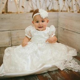 hat images Australia - Princess White Lace Baby Christening Dresses Kids Baptism Gowns Short Sleeve Vintage Baby Girls Christening Gowns Kids Dress with Hat 71