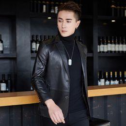 $enCountryForm.capitalKeyWord NZ - Jaqueta Masculino Genuine Leather Mens Jacket New Sheepskin Leather Garment 2018 Men's Single-breasted Casual Small Suit Black