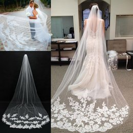 $enCountryForm.capitalKeyWord UK - Romantic White Ivory Tulle Bridal Veils 3 Meters Long Lace Appliqued Wedding Veils Custom Made 2019 Cheap In Stock Bridal Accessories AL2314