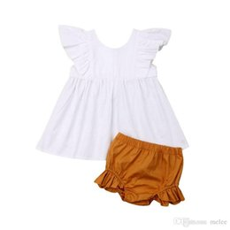 toddler ruffle bloomers Australia - summer fashion 0-2years toddler kids fly sleeved striped dress tops & kids ruffle shorts bloomers 2pcs outfits