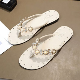 men canvas net shoe 2019 - Slippers female cute ins cool mop net red fashion flat wettable beach shoes seaside with diamond pearl flip-flops cheap
