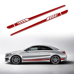 ed7b96a12b 2Pcs Auto Racing Sports Long Stripe Stickers Side Body Vinyl Decals DIY Car  Body Decals for Mercedes-Benz 220x11.5CM Car Styling