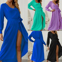 $enCountryForm.capitalKeyWord Australia - Solid Wrap V Neck Long Sleeve Maxi Dress with Bow Sashes Women Sexy High Slit Club Party Dresses Robe Long Boho Dress