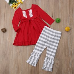 red striped christmas dress Australia - 2018 New Christmas Kids Baby Girls Clothes Set Autumn Long Sleeve Solid Lace Striped Square Collar Top Dress Pants Girl 2PCs