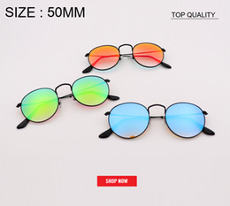 flash cooling glass 2019 - new top quality Women round designer circle Flash gradient Mirror Lens Sun glasses cool men circle metal Style rd3447 Su