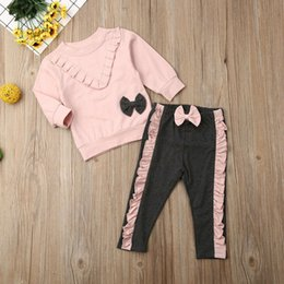 leather sleeve sweatshirts Canada - 2PCS Baby Girl Outfit Clothes Sets Long Sleeve Pink Ruffle Bowknot Sweatshirt Pants Toddler Kid Clothes Set