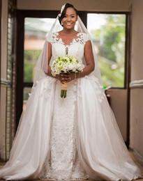 $enCountryForm.capitalKeyWord Australia - 2019 dubai arabic white A-Line Wedding Dresses with detachable train sweep train bridal gowns custom made plus size African vestido de novia